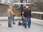 Shooting the exterior test on the roof. A tad chilly.