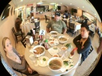 The fisheye, without cropping can leave severe vignetting. Notice my sleeves in the bottom corners...