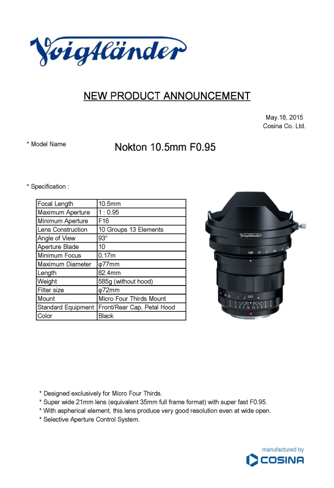 New Products Announcement 10.5mm